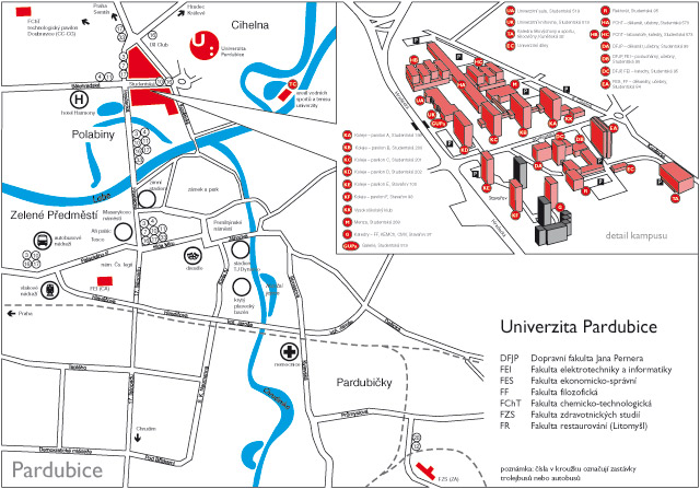 Plan of campus of University of Pardubice